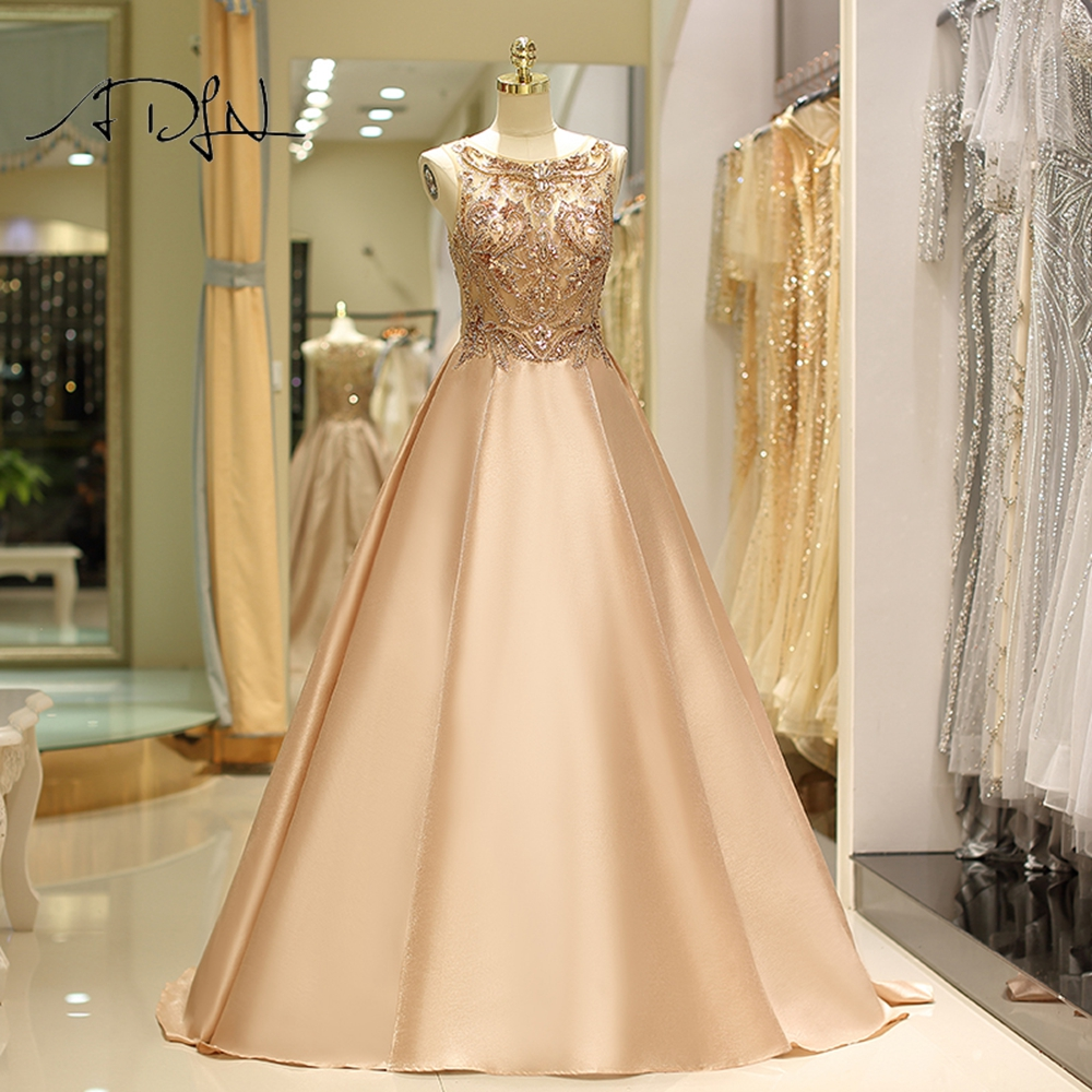 ADLN Long Evening Dress 2019 New Arrival A Line Special Occasion Prom Gown Custom Made Illusion