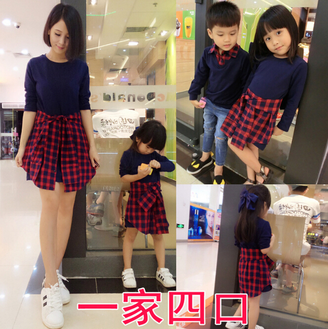 Fashion Family Matching Outfits Plaid Mother/Mom Daughter Dresses Father Son Clothes Family Style Set Parent-Child Clothing YE1