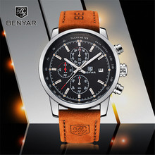 Reloj Hombre 2017 Top Brand Luxury BENYAR Fashion Chronograph Sport Mens Watches Military Quartz Watch Clock Relogio Masculino benyar mens watches top luxury business watch moon phase full steel quartz chronograph sport military watch support dropshipping