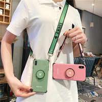 Coques de téléphone à bandoulière pour iphone 11 pro X XR Xs max 6s 7 8plus love heart shell support pliable support arrière avec longue sangle