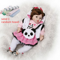 NPK 50cm Baby Silicone Dolls Reborn Baby Dolls Lifelike Toddlers Dolls For Girls With Cute Panda Clothes Toys For Children