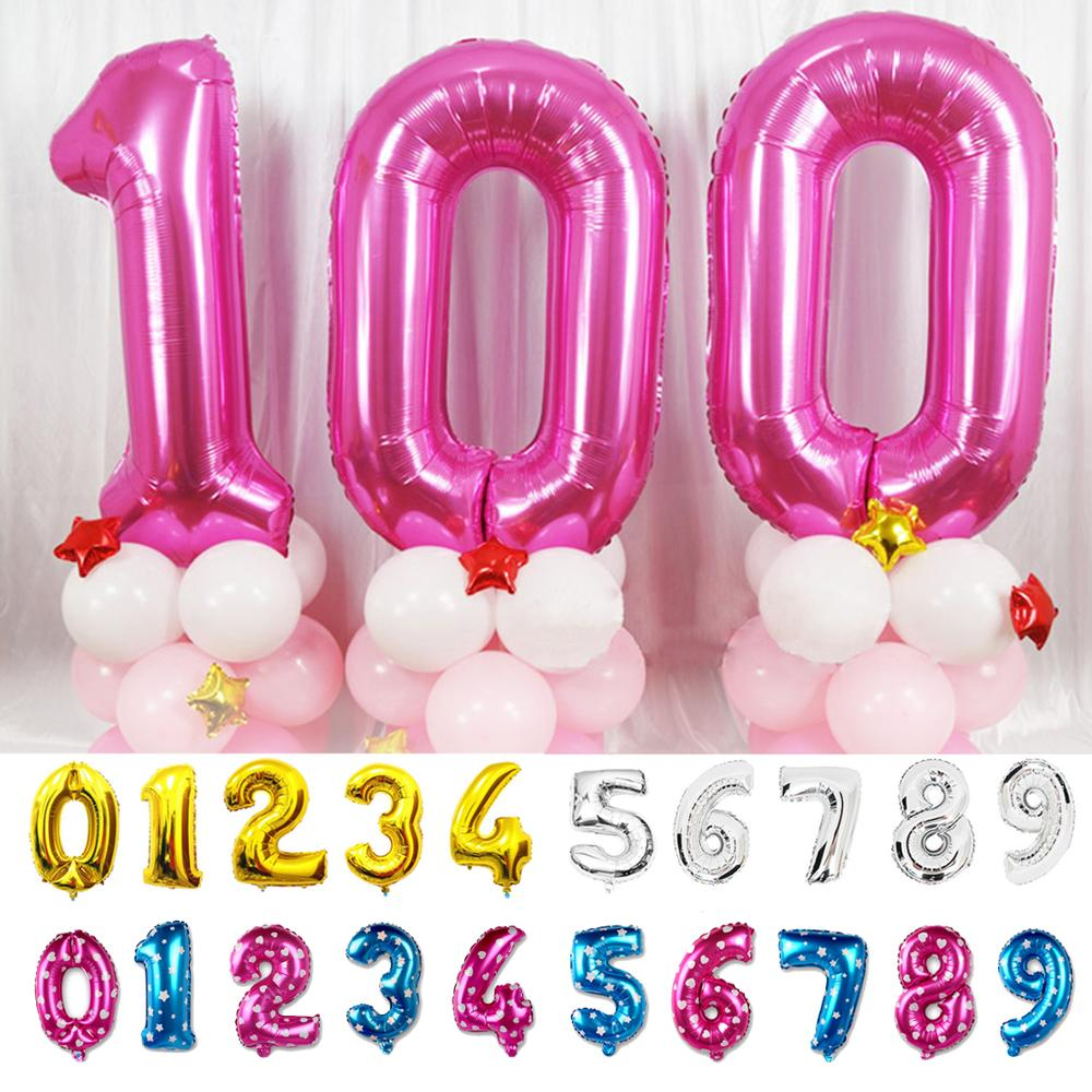 40 32 16 Inches Foil Number Balloons Birthday Party Wedding Decoration Gold Silver Blue Pink Inflatable Helium Gas Balloon Large