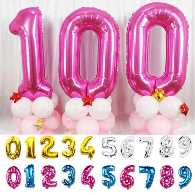 096c7a6c277f US $0.69 5% OFF|40 32 16 zoll Folie Anzahl Ballons Geburtstag Party  Hochzeit Dekoration Gold Silber Blau Rosa Aufblasbare Helium Gas Ballon  Große in ...