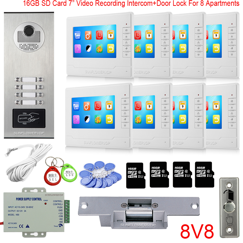 "Rfid 8/10/12 Multi Call Buttons Home Security Door Video Intercom 16GB Video Recording 7""Color Monitor Door Bell + Electric Lock"
