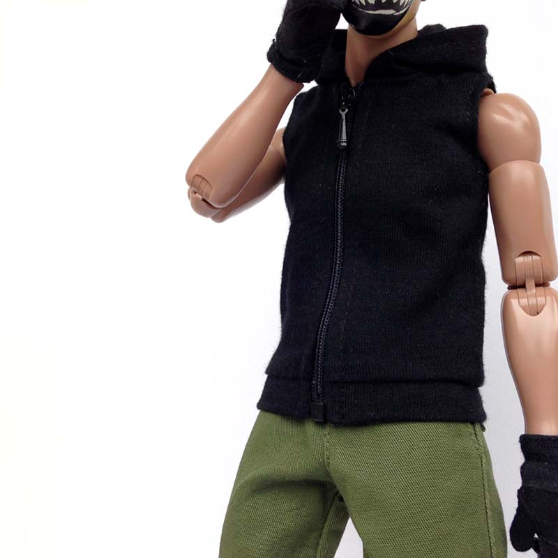 Mnotht <font><b>1/6</b></font> fashion coat Sleeveless soldier's Hoodie jacket model tide male clothes 3 colour for 12'' toys <font><b>body</b></font> <font><b>action</b></font> <font><b>figure</b></font> image