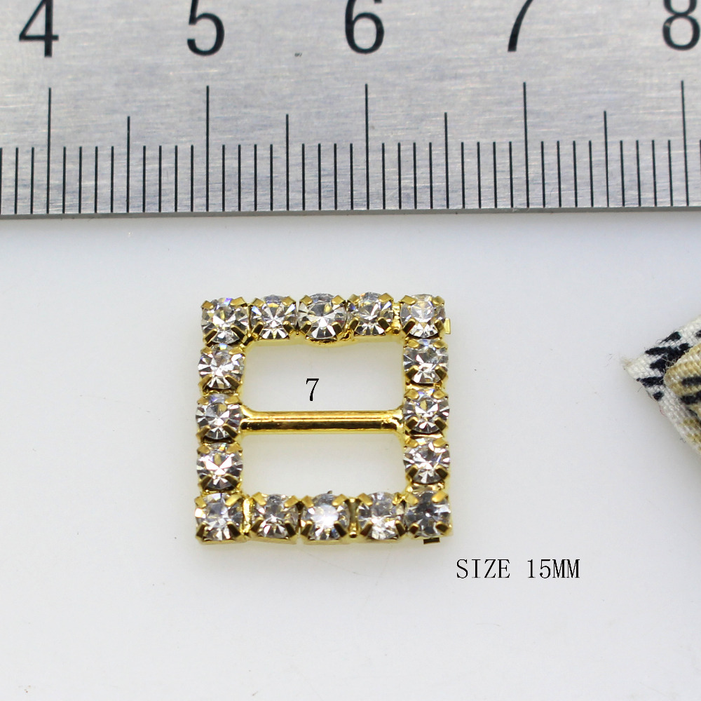 4e971b6a35 US $2.37 9% OFF|10pcs Mix Size Buttons Crystal Rhinestone Buckle Invitation  Ribbon Slider For Wedding Gold Color Diy Accessories-in Buckles & Hooks ...