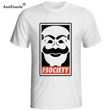Antidazzle 2017 Mr Robot Fsociety Anonymous Mask Fsociety Mens Cool T Shirt Personalized T Shirt(China)