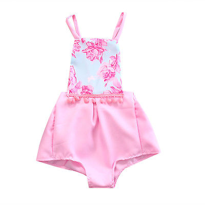 Lovely Newborn Infant Baby Girls Romper Floral Jumpsuit Sunsuit Outfit Pink Sleeveless Cotton Clothes Set