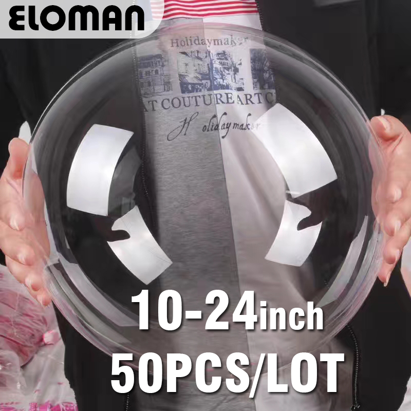 50PCS/lots round super clear balloons 10-24inch birthday wedding party drecoration bobo ball balloons christmas party supplies