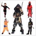 Crianças Vermelho/preto ninja trajes cosplay para meninos/Crianças Natal De Ano Novo roupas/crianças trajes do partido