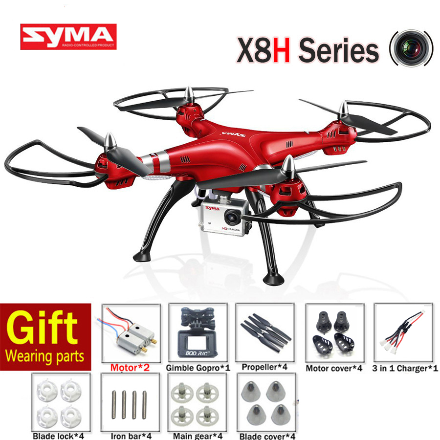 Syma X8HG Drones 2.4G 4CH 6 Axis Quadcopter With 8MP HD Camera RC Dron RTF Or X8HW FPV Helicopters
