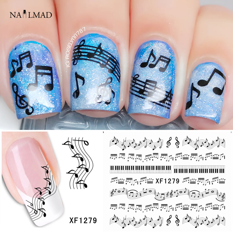 1 Sheet Musical Notes Nail Water Decals Piano Keys Transfer Stickers