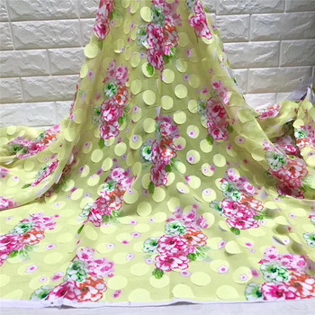 Silk Prints Fabric 2019 3D flower Satin Wax High Quality 5 yards African Fabric for Dress with chiffon scarf matching jy82-90