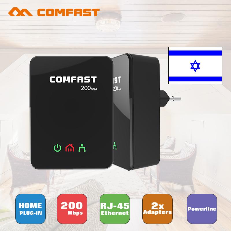 Prix pour 2 pcs 200 mbps Powerline Comfast CF-WP200M Homeplug Av Réseau Adaptateur de Puissance D'extension Ligne Plc Ethernet Adaptateur ethernet powerline