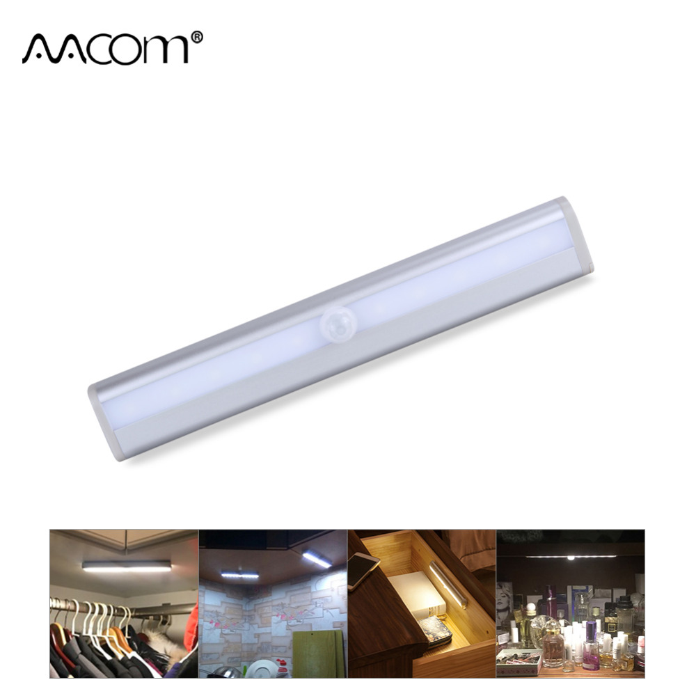 10 LEDs Motion Sensor LED Under Cabinet Light Portable Auto On Off Night Light Emergency Light For Wardrobe Drawer Hallway
