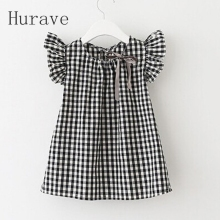 Hurave 2017 Summer Style New Fashion Black White Plaid Girl Dresses Puff Sleeve font b Baby