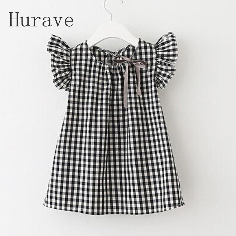Hurave 2017 Summer Style New Fashion Black White Plaid Girl font b Dresses b font Puff
