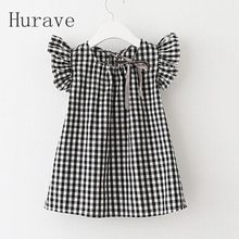Hurave 2017 Summer Style New Fashion Black White Plaid Girl Dresses Puff Sleeve Baby Kids Clothing Casual Girl Dress Vestidos