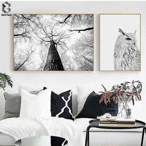 nordic poster forest canvas painting wall art eagle posters and prints black white wall pictures for living room home decor