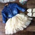 wholesale(5pcs/lot)- 2016 spring atumen demin and mesh long sleeves dress for child girl