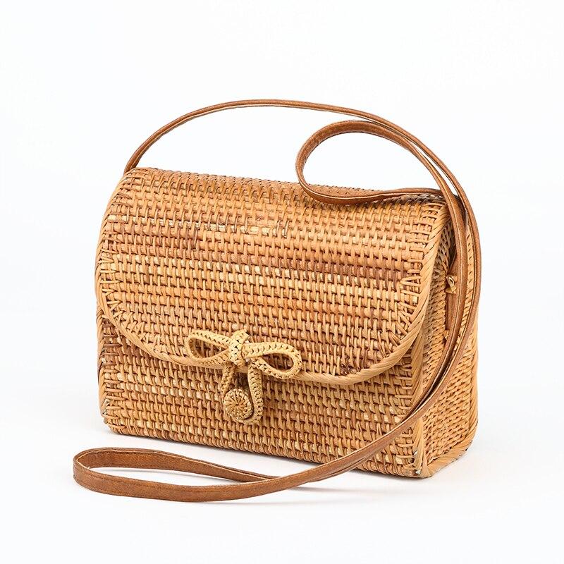 2018 Rattan Bag Women Straw Shoulder Bag Ladies Messenger Bag Leather Strap Fashion Beach Bag Bolsas