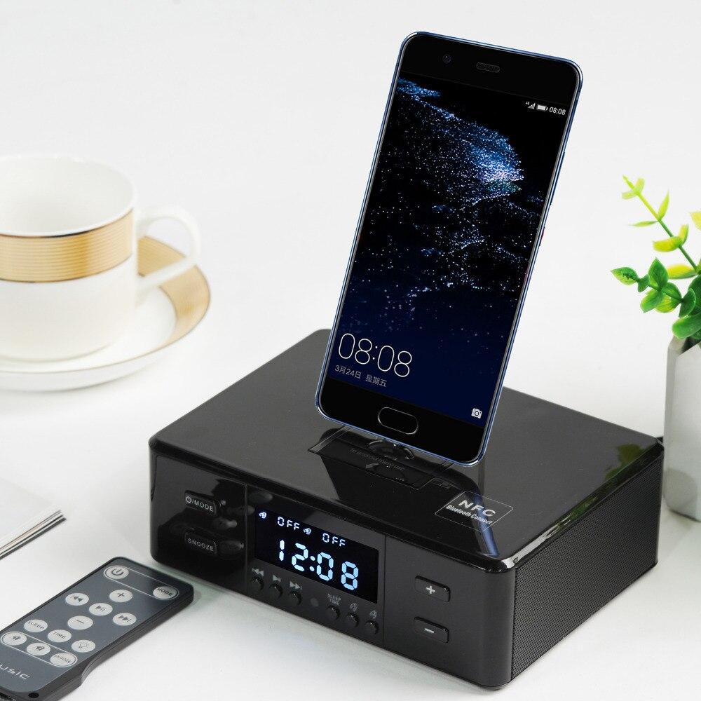 Mini Radio FM Numérique Récepteur Portable Sans Fil Bluetooth Haut-parleurs Subwoofer Smart Chargeur Dock Station avec LCD Displayer