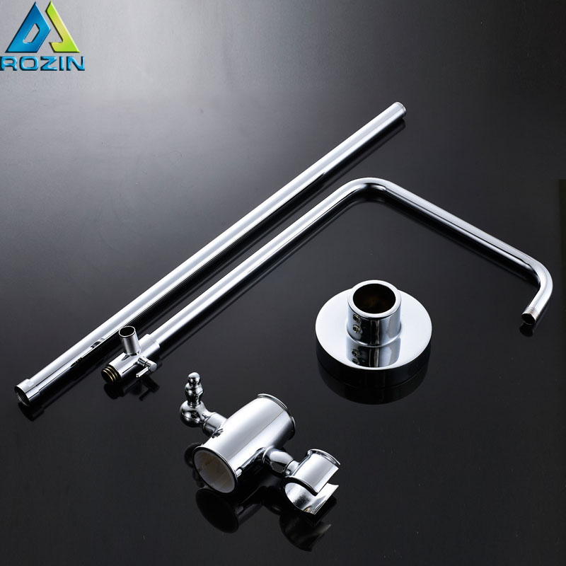 Wall Mounted Brass Chrome Sliding Bar Shower Pipe & Shower Head Holder Bathroom Adjust Height Faucet Pipe