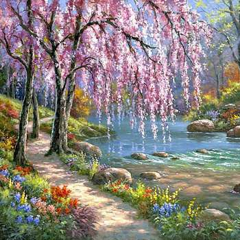 Ścienne obrazy olejne według liczb ściana krajobrazowa wystrój obraz na płótnie farby olejne kolorowanki numeryczne rysunek wodospad craft 40x50cm