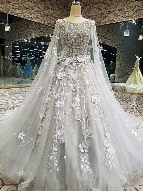 Aliexpress Buy Backlake Hot Sale Gray Ball Gown Flowers Lace