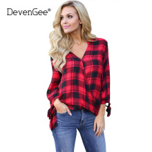 DevenGee Autumn Women Blouses Long Sleeve Plaid Shirts Turn Down Collar Women's Shirt Casual Irregular Blouses Plus Size Tops