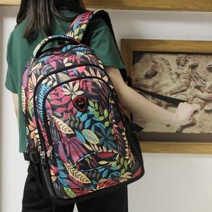 Image 4 - Aoking Waterproof Women Backpack Large Breathable School Day Pack Laptop Bag Casual Travel Nylon Floral Girls Backpack Printing