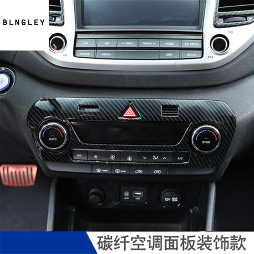 1pc Stainless steel carbon fiber grain Air-conditioning adjustment control panel decoration cover for <font><b>2018</b></font> <font><b>hyundai</b></font> <font><b>Tucson</b></font> image