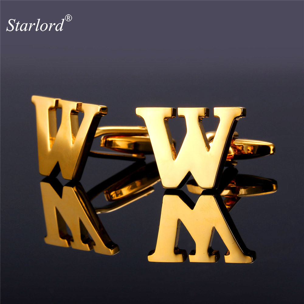 Starlord Letter Cufflinks Cuff Buttons With Letters W For Men High Quality Gold Color Metal Wedding Shirt Cuff Links <font><b>C2053</b></font> image
