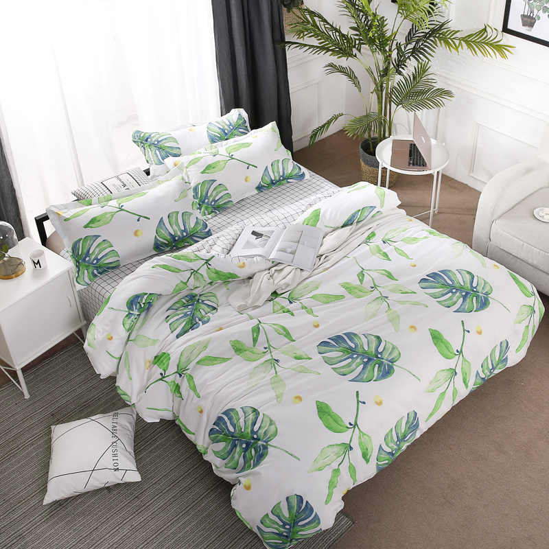 Home Textile Green Leaves Bedding Set 3/4pcs Geometric Bed Set White Grid Duvet Cover Set Brief Bed Linen Flat Sheet Pillowcase