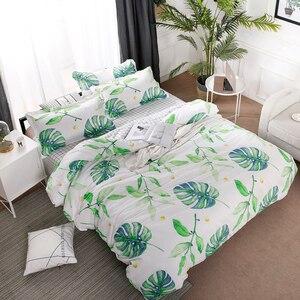 Image 1 - Home Textile Green Leaves Bedding Set 3/4pcs Geometric Bed Set White Grid Duvet Cover Set Brief Bed Linen Flat Sheet Pillowcase