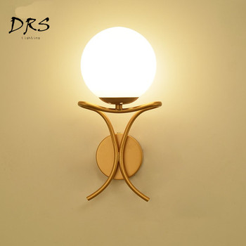 Simple Modern Wall Lamp Golden Silver Living Room Dining Room Deco Wall Lights Creative Bedroom Bedside Glass Ball Wall Lamp