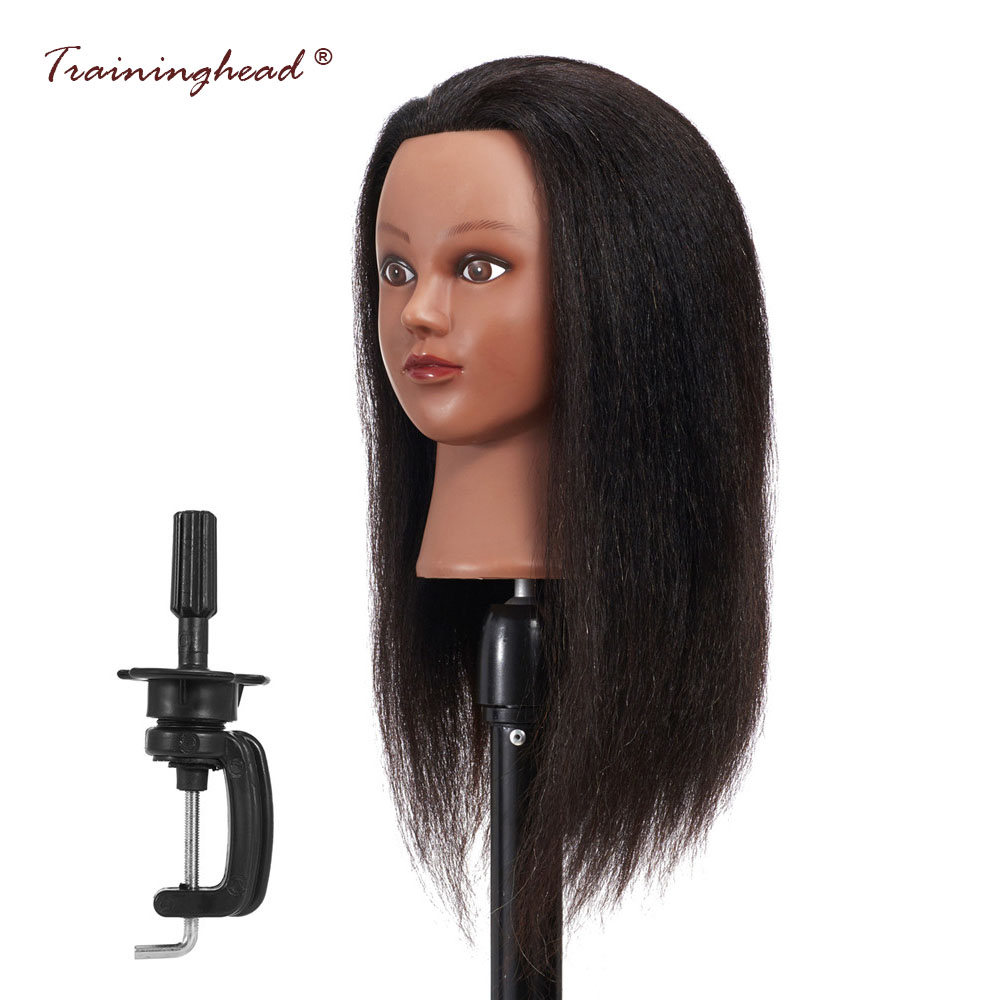 Traininghead 16 100% Real Hair Mannequin Head Cosmetology Dummy Doll Heads Hair Hairdressing Female Training Mannequin Head