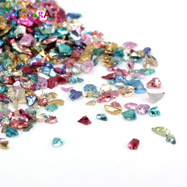 OlingArt 25g/lot Multicolor mixing Nail Art Crushed Glass Nail Stones irregular Rhinestone Decoration DIY Necklace pendant