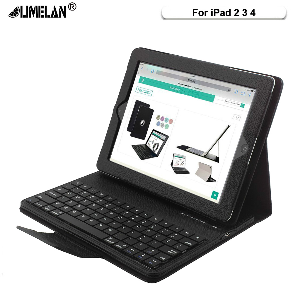 LIMELAN for iPad 2 3 4 Keyboard Folding Leather Folio Cover Removable ABS Bluetooth Keyboard for funda iPad 2/3/4 Tablet Case yd k356 bluetooth v3 0 78 key keyboard 360 degree rotational abs case for ipad 2 3 4 white