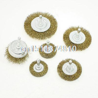 6 in 1 Set Brass Coated Wire Wheel Brush Rotary Tool for Polishing Finishing