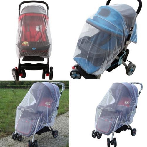 1X Whtie Stroller Pushchair Mosquito Insect Net Mesh Buggy Cover For Baby Infant Protect
