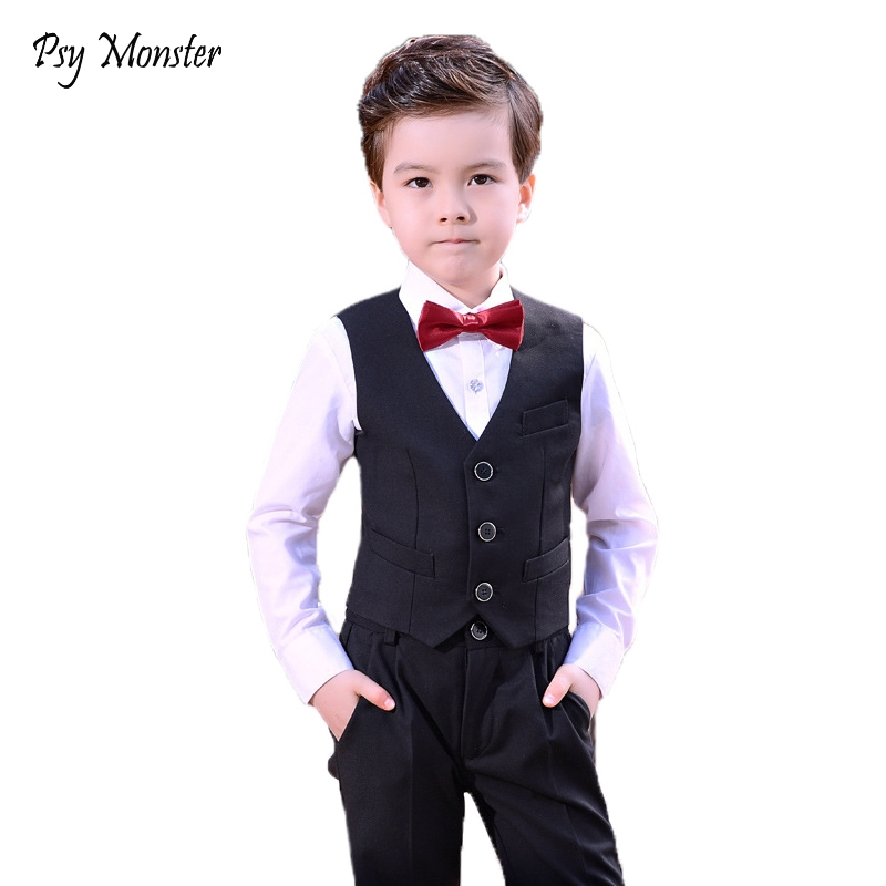 931b20f58f5a Children Baby Boy Birthday Clothes Tuxedos Wedding Dress Formal Suit Sets  Waistcoat Vest Pants Plaid Gentleman Kids Costumes F4