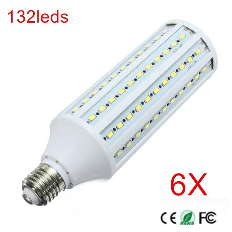 6 pièces SUPER puissance 40 W E27 mur LED lampes 5730 SMD maïs LED ampoule lustres 132 LED s plafonnier AC 220 V 240 V pendentif lumières