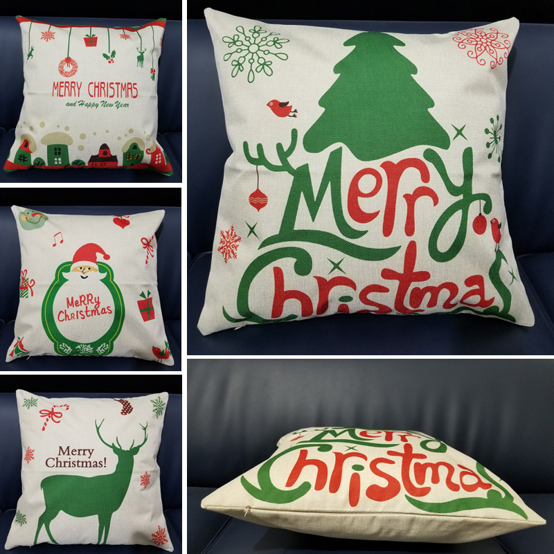 Merry Christmas Super Soft Square Throw Pillow Cotton Linen Pillow Cover 45x45cm Home Decor Green Tree Christmas Pillowcase in Cushion Cover from Home Garden