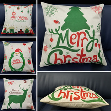 купить Merry Christmas Super Soft Square Throw Pillow Cotton Linen Pillow Cover 45x45cm Home Decor Green Tree Christmas Pillowcase дешево