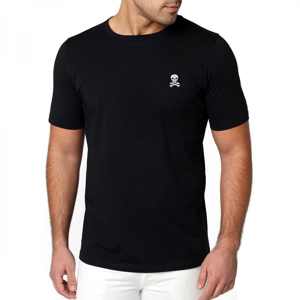 Camiseta de hombre con calavera y huesos cruzados bordado Casual