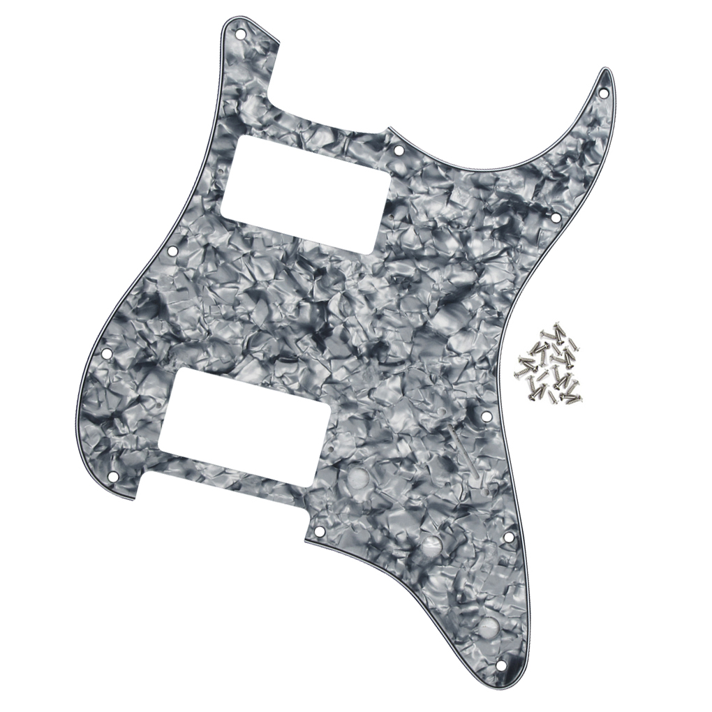 Standard Fd St Strat American Big Apple 11 Holes Humbucker Humbucker Hh Guitar Pickguard Scratch Plate W/ Screws grey Pearl To Produce An Effect Toward Clear Vision