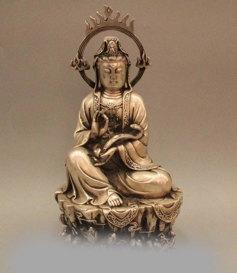 "12"" Chinese Buddhism Silver Kwan yin Guan Yin Goddess Ru"