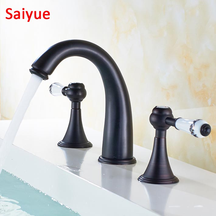 ручка палубная - New White blue procelain handle Deck-mounted Widespread Black Antique Brass 3 Pcs Bathroom Faucet Lavatory Basin Sink Mixer Tap