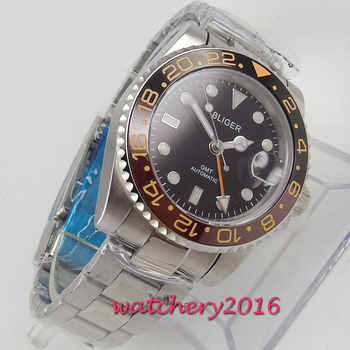 43mm Bliger Black Dial Sapphire GLass GMT Date Luminous Rotating Ceramic Bezel Steel Case Automatic Movement men\'s Watch
